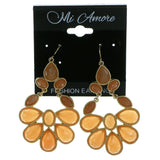 Gold-Tone & Peach Colored Metal Drop-Dangle-Earrings With Faceted Accents #1942