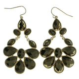 Gold-Tone & Brown Colored Metal Drop-Dangle-Earrings With Faceted Accents #1943