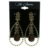 Gold-Tone & Brown Colored Metal Drop-Dangle-Earrings With Faceted Accents #1944