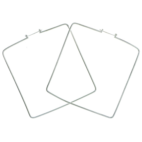 Square Hoop-Earrings Silver-Tone Color  #1947