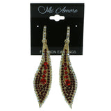 Gold-Tone & Red Colored Metal Drop-Dangle-Earrings With Crystal Accents #1950