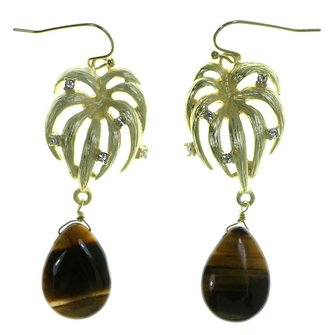 Gold-Tone & Brown Colored Metal Drop-Dangle-Earrings With Crystal Accents #1954