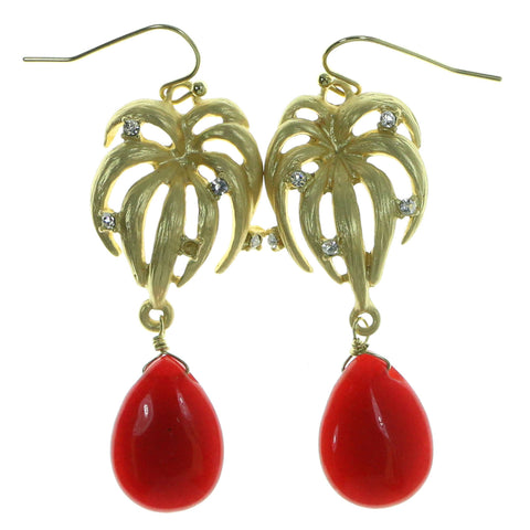 Gold-Tone & Red Colored Metal Drop-Dangle-Earrings With Crystal Accents #1955