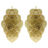 Heart Filigree Drop-Dangle-Earrings Gold-Tone Color  #580