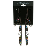 Feather Drop-Dangle-Earrings With Crystal Accents Bronze-Tone & Multi Colored #1957