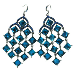 Gray & Blue Colored Metal Chandelier-Earrings With Crystal Accents #1959