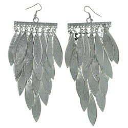 Layered Drop-Dangle-Earrings With Drop Accents  Silver-Tone Color #1963