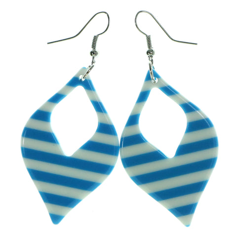 Striped Dangle-Earrings Blue & White Colored #1967