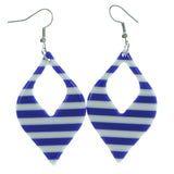 Striped Dangle-Earrings Blue & White Colored #1971