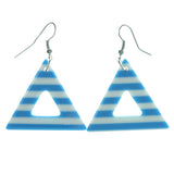 Striped Dangle-Earrings Blue & White Colored #1975