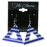 Striped Dangle-Earrings Blue & White Colored #1976