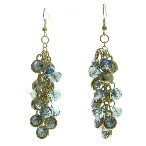 Gold-Tone & Blue Colored Metal Dangle-Earrings With Crystal Accents #581