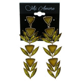 Gold-Tone & Yellow Colored Metal Drop-Dangle-Earrings With Faceted Accents #1981