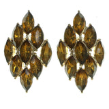 Gold-Tone & Yellow Colored Metal Stud-Earrings With Faceted Accents #1986