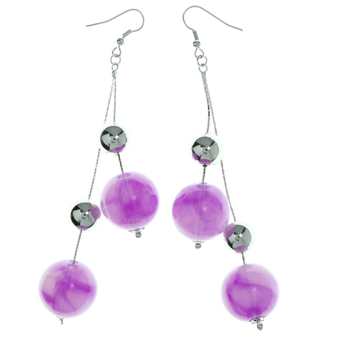 Purple & Silver-Tone Colored Metal Drop-Dangle-Earrings With Bead Accents #1990