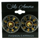 Silver-Tone & Multi Colored Metal Stud-Earrings With Faceted Accents #1993