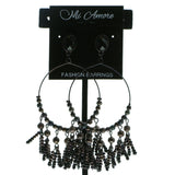 Bronze-Tone & Black Colored Metal Drop-Dangle-Earrings With Bead Accents #583