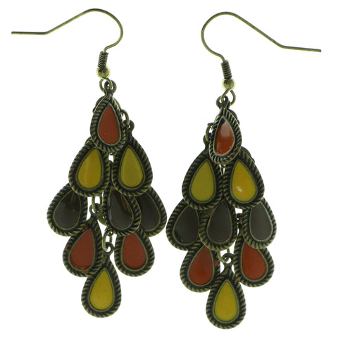 Gold-Tone & Multi Colored Metal Drop-Dangle-Earrings With Colorful Accents #584