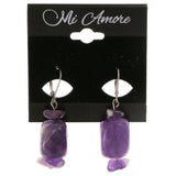 Purple & Silver-Tone Colored Metal Dangle-Earrings With Stone Accents #1999
