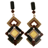 Colorful & Gold-Tone Colored Metal Dangle-Earrings With Crystal Accents #2002