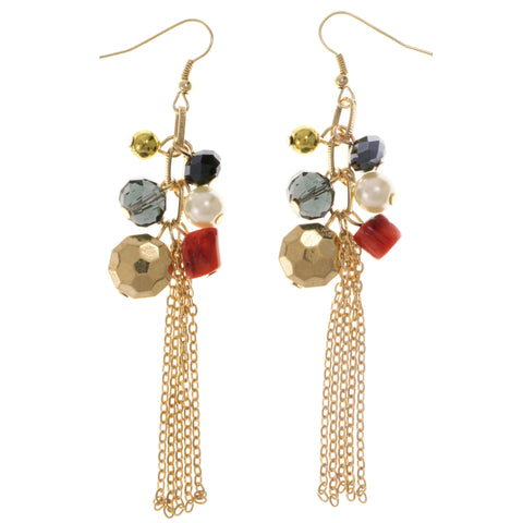 Colorful & Gold-Tone Colored Metal Dangle-Earrings With Bead Accents #2005