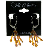 Brown & Amber Colored Acrylic Dangle-Earrings With Bead Accents #2012