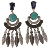 Colorful & Silver-Tone Colored Metal Drop-Dangle-Earrings With Crystal Accents #2019