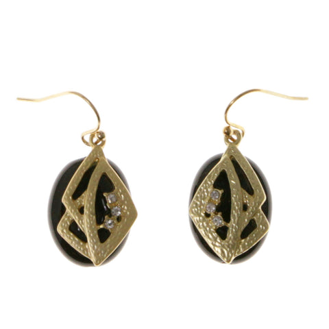 Gold-Tone & Black Colored Metal Dangle-Earrings With Crystal Accents #2023