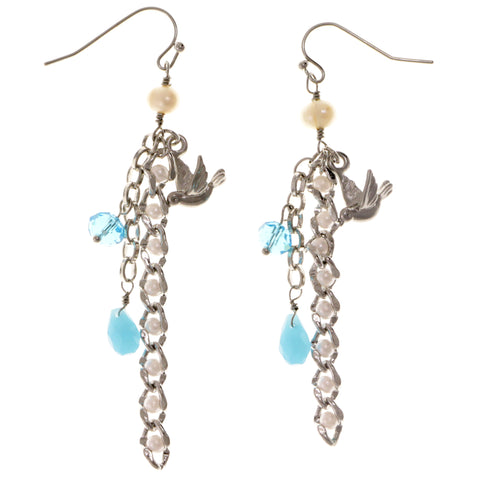 Birds Dangle-Earrings With Crystal Accents Gold-Tone & Gray Colored #2027