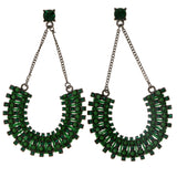 Green & Black Colored Metal Drop-Dangle-Earrings With Crystal Accents #2039