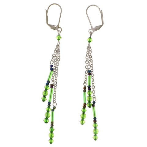 Colorful Metal Dangle-Earrings With Bead Accents #2045