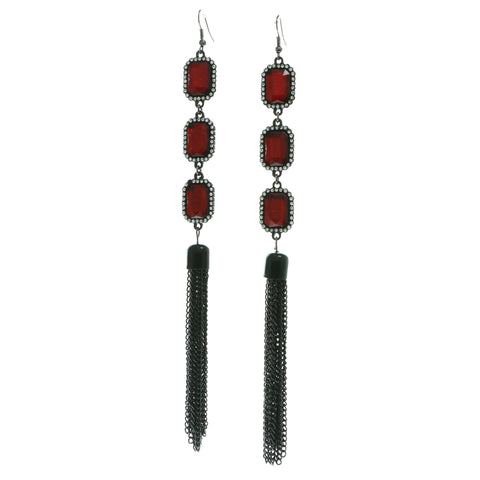Red & Silver-Tone Colored Metal Dangle-Earrings With Crystal Accents #590