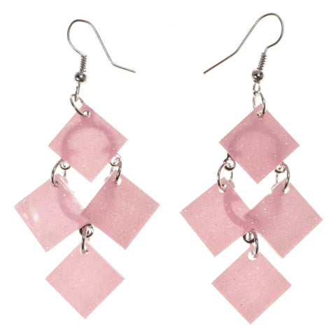 Glitter Dangle-Earrings Pink & Silver-Tone Colored #2056
