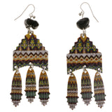 Colorful Metal Dangle-Earrings With Stone Accents #2058