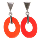 Red & Silver-Tone Colored Acrylic Dangle-Earrings #2066