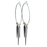 Glittery Hoop-Earrings With Drop Accents Silver-Tone & Gray Colored #593