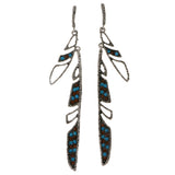 Colorful & Silver-Tone Colored Metal Drop-Dangle-Earrings With Crystal Accents #2072