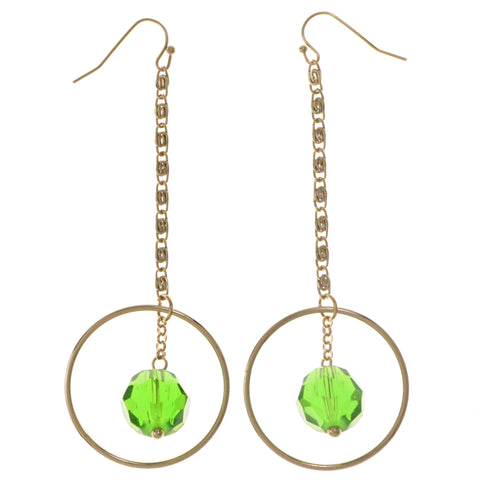 Green & Gold-Tone Colored Metal Dangle-Earrings With Crystal Accents #2073