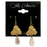 Flowers Dangle-Earrings With Stone Accents Gold-Tone & Gray Colored #2083