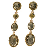 Green & Gold-Tone Colored Metal Drop-Dangle-Earrings With Crystal Accents #2084