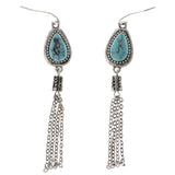 Blue & Silver-Tone Colored Metal Dangle-Earrings With Stone Accents #2085