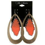 Colorful & Gold-Tone Colored Metal Dangle-Earrings With Stone Accents #2089