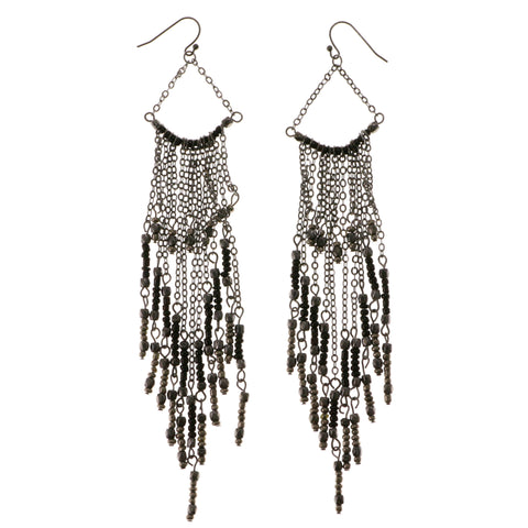 Colorful Metal Tassel-Earrings With Bead Accents #2091
