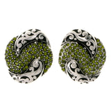Colorful & Silver-Tone Colored Metal Stud-Earrings With Crystal Accents #2092
