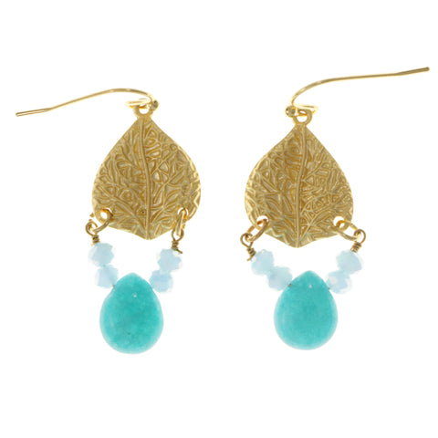 White & Gold-Tone Colored Metal Dangle-Earrings With Bead Accents #2104