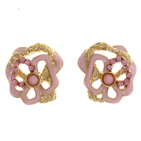 Colorful & Gold-Tone Colored Metal Stud-Earrings With Crystal Accents #2106