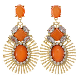 Orange & Gold-Tone Colored Metal Drop-Dangle-Earrings With Crystal Accents #2109