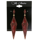 Red & Gold Colored Metal Drop-Dangle-Earrings With Crystal Accents #2115