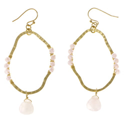 Pink & Gold-Tone Colored Metal Dangle-Earrings With Stone Accents #2117