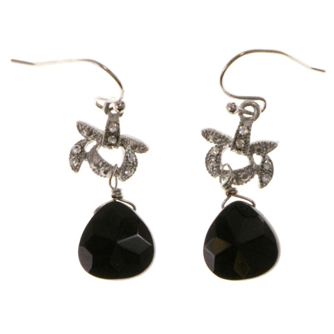 Black & Silver-Tone Colored Metal Dangle-Earrings With Bead Accents #2118